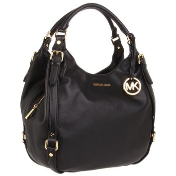 Michael Kors 30H1GBFE3L-001 Women's Bedford Large 2013 Summer Style Black Leather Shoulder Bag