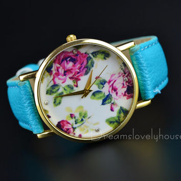 Father's Day Gift, Floral Watch, Vintage Style Leather Watch, Women Watches, Unisex Watch, Green Leather,Wrist Watch RW-11