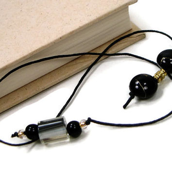 Book Thong Bookmark, Black, Gold, Book String, Book Cord, Teacher Gift, Bible Bookmark