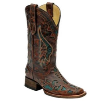 Corral Leather Turquoise Inlay Cognac Distressed Boot