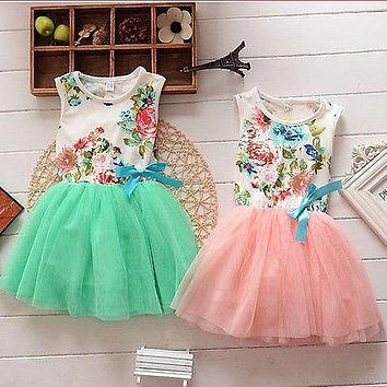 Summer 2016 Princess Girls Baby Kids Floral Lace Patchwork Tops Fancy Tutu Dress Tulle One-pieces 1-5Y