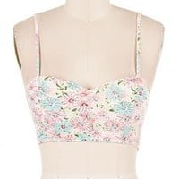 Spring Festival Floral Print Bustier Crop Top in Mint/Pink | Sincerely Sweet Boutique