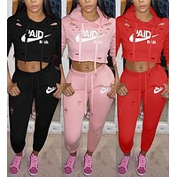 Fashion Women Casual Letter Print Long Sleeve Sports Cap Suit I
