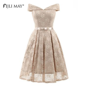 JLI MAY Lace solid slash neck midi short sleeve bow embroidery vintage elegant evening formal summer dress
