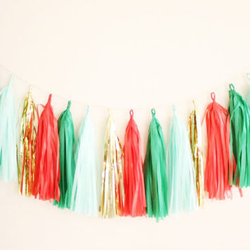Christmas Tassel Garland - Holiday Decor, Christmas Party Decoration, Winter Decor, Red and Green Decor, Christmas Mantel Decor