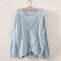 Round neck hollow out sweater