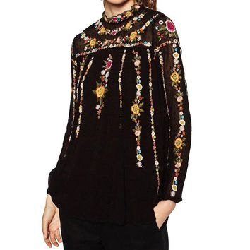 Floral Embroidered Free People Top