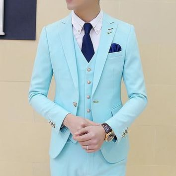 Men's Three-Piece Suit Up To Size XXL In 12 Colors!