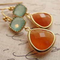 Orange and pale blue gold earrings orange blue by OliveYewJewels