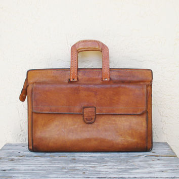 Vintage Hartmann Briefcase / Distressed Leather Briefcase / Soft Side Briefcase / Leather Messenger Bag