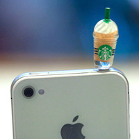 Kawaii STARBUCKS FRAPPE in 5 Colors to pick Iphone Earphone Plug/Dust Plug - Cellphone Headphone Handmade Decorations