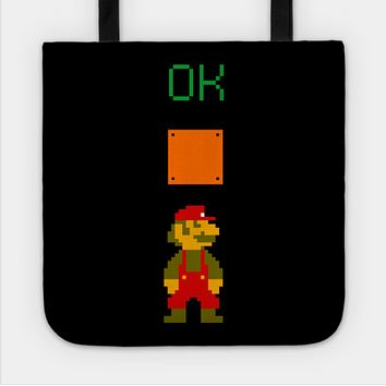 Mario OK Power Up Coin Video Games Tote Bag