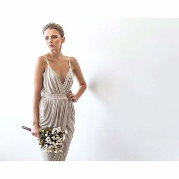 Champagne maxi tulip wrap dress SALE 1033