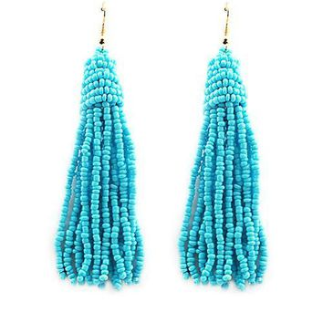 "4.25"" seed bead tassel fringe boho earrings"