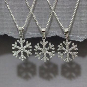 Winter Necklace, Sterling Silver and CZ Snowflake Necklace, Winter Wedding Necklace, Bridesmaid Necklace, Bridesmaid Gift