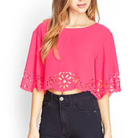 FOREVER 21 Laser Cut Crop Top Hot Pink