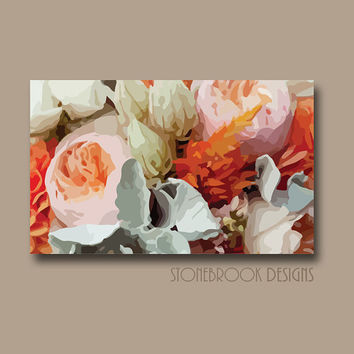 Coral Seafoam Wall Art FLOWER CANVAS Painting Vivid Roses Artwork Large Image Wrap Floral Bouquet Decor Orange Peach Free Shipping