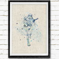 Stormtrooper Poster, Star Wars Watercolor Art Print, Kids Bedoom Decor, Minimalist Home Decor, Not Framed, Buy 2 Get 1 Free!
