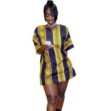 African plus-size fashion dress printing easy straight GongNi short-sleeved dress