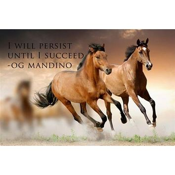 INSPIRATIONAL POSTER horse running 24X36 OG MANDINO QUOTE persistance SUCCESS