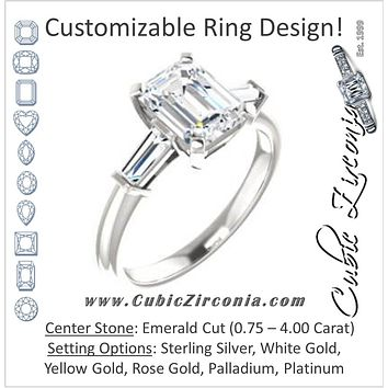Cubic Zirconia Engagement Ring- The Monica (Customizable Emerald Cut Center with Dual Tapered Baguettes)