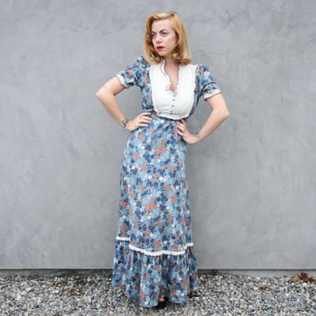 California Prairie Dress, Floral Boho Maxi Dress