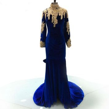 Mermaid Dresses Backless Royal Blue Long Sleeve Evening Party Gowns High Neck velvet dresses