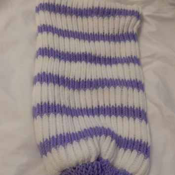 Purple And White Knitted Baby Cocoon