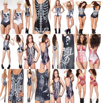 Extreme Funky Fun Funny Women One Piece Swimsuit Bathing Suit Swimwear Meat Skeleton Skull