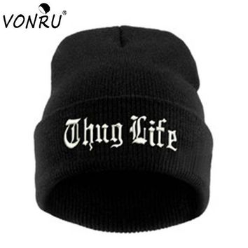 DCCKHTG OPAL FERRIE - THUG LIFE Black Embroidery Letter Hat Unisex  Hip Hop Beanie Knitted Hat