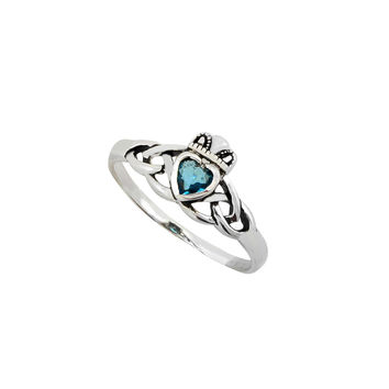 Sterling Silver Claddagh Ring Blue Topaz CZ Stone Irish Celtic Wedding Band