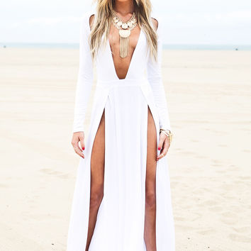 Raya High-Slit Deep-V Maxi Dress - White