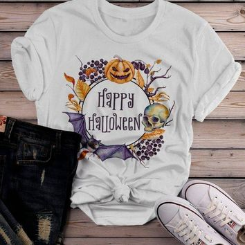 Women's Boho Halloween T Shirt Pumpkin Skull Wreath Watercolor Graphic Tee Happy Halloween Wreaths
