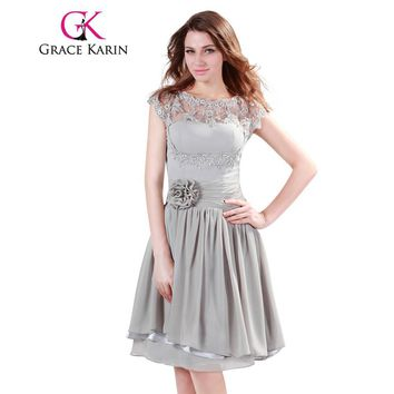 Grace Karin Bridesmaid Dresses Short Midi Grey Chiffon Formal Wedding Party Dress Cap Sleeve Lace Special Occasion Dress 2017