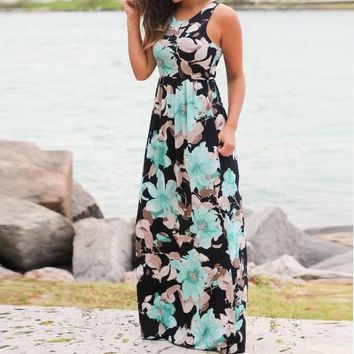 Women Sleeveless Floral Print Maxi Dress with Pockets