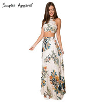 Women Long Backless Two Piece Maxi Dress