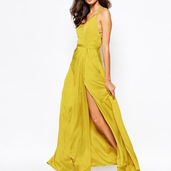 Fame and Partners Luminous Siren Embellished Strap Maxi Dress With Thigh Split