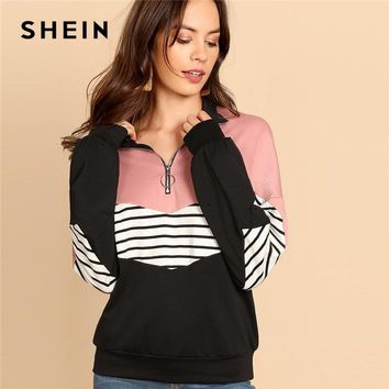 SHEIN O-Ring Zip Front Cut and Sew Sweatshirt Preppy Striped Stand Collar Long Sleeve Sweatshirts Women Autumn Casual Tops