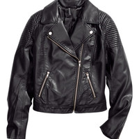 Imitation Leather Biker Jacket - from H&M