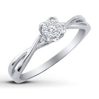 Diamond Promise Ring  1/15 ct tw Round-cut Sterling Silver