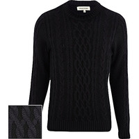 River Island MensNavy chunky cable knit sweater
