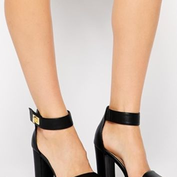 New Look School Black Gold Lock Heeled Sandals at asos.com