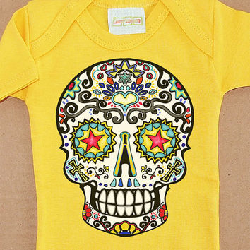 Traditional Sugar Skull Baby clothes. Tattoo Flash Kids Romper. Day of the Dead yellow Jumper 3, 6 month Trendy Infant bodysuit shower gift