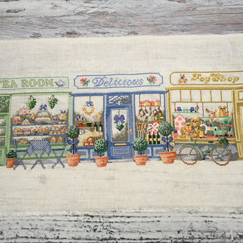 Cross Stitch Sampler . Unframed Finished Completed Cross Stitch . Shopping Street . Permin of Copenhagen .