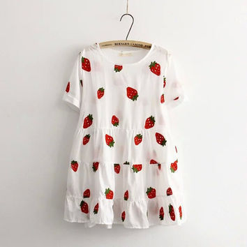 Summer new Japanese Hot sale Fashion red strawberry embroidery Sweet Cute Women Young Girls Doll Loose short-sleeve white dress