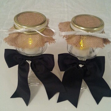 Burlap black white wedding candle jar / center piece set. Any color to match your wedding