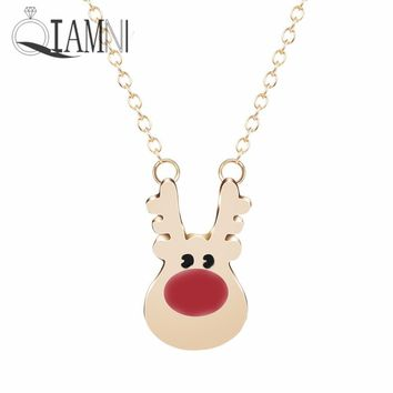 QIAMNI Lovely Rudolph Reindeer Animal Chain Pendant Necklace for Women Girls Minimalist Jewelry Christmas Gift Accessories