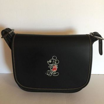 ONETOW Disney X Coach Mickey Leather Patricia 23 Shoulder Bag Black New with Tags