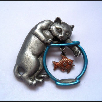 Vintage Pewter Cat JJ Pin Brooch With Goldfish Bowl