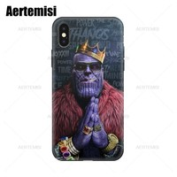 Aertemisi Phone Cases Avengers Infinity War Thanos Black Soft TPU Case Cover for iPhone 5 5s SE 6 6s 7 8 Plus X